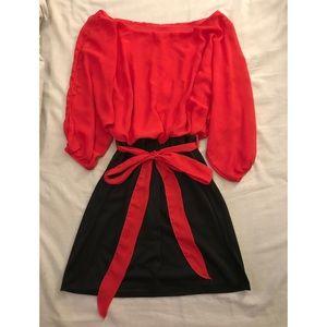 Chiffon Boatneck Dress